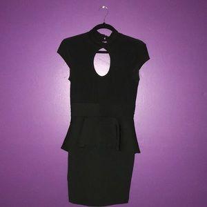 Black Cap-Sleeve Cut-Out Peplum Dress